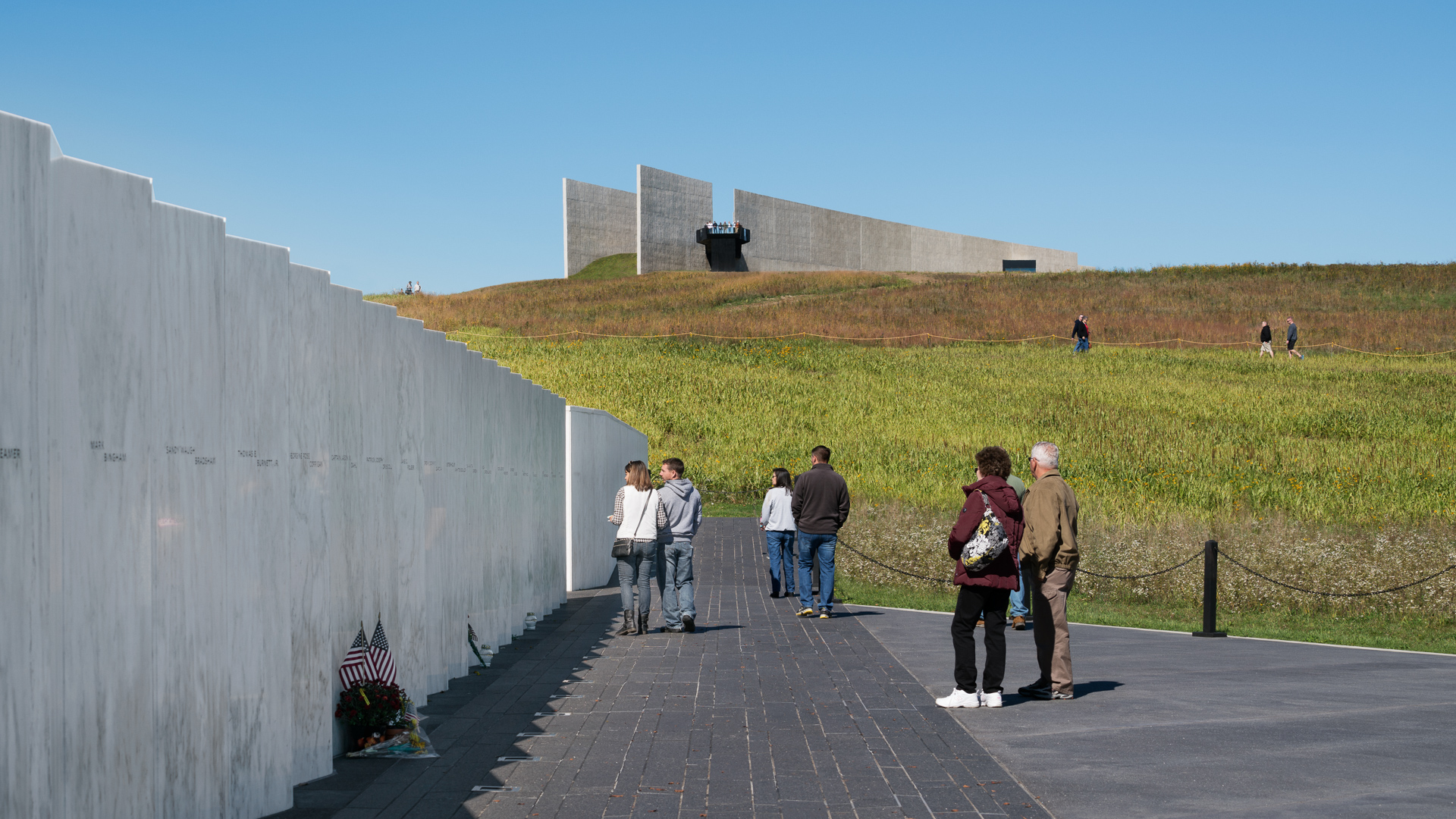 Marble panels with the names of passengers and crew members who perished on Flight 93.