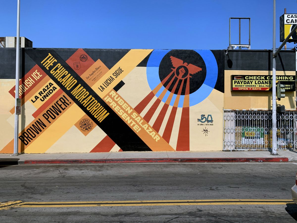50th Anniversary of the Chicano Moratorium mural on Whittier Boulevard in East Los Angeles.
