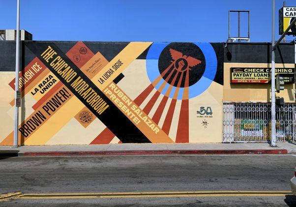 Click to open the large image: Chicano Moratorium 50th anniversary mural