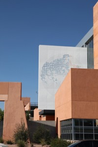 Federico Muelas' piece 'Blue Flower' on UNM's George Pearl Hall.