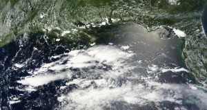 Oil offshore of Alabama and Florida's western panhandle, silver-gray in this June 27 satellite photo courtesy of NASA MODIS Rapid Response Team.