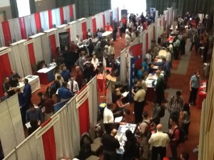 Students attend a Career Services sponsored career expo.