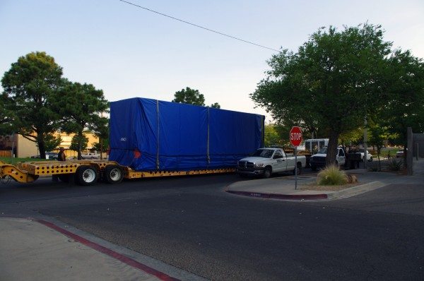 Delivery of gas turbine.  Photo by Larry Schuster