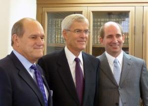 UNM President Robert Frank (l), former U.S. Senator Jeff Bingaman, and WNMU President Joseph Shepard.