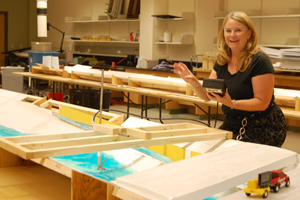 Civil Engineering Professor Julie Coonrod in the School of Engineering's Hydraulics Lab