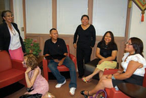 Paulita Aguilar (center) and students