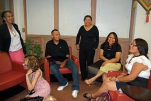 Paulita Aguilar (center) and students