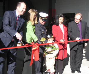 Albuquerque Mayor R.J. Berry, City Councillor Roxanna Meyers, Albuquerque Fire Chief James Breen, Jason Riordan, UNM Board of Regents Member Carolyn Abeita, and UNM Executive Vice President for Administration David Harris cut the ribbon to open Albuquerque Fire Station  #2