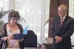 AMMAC President Sonia Gallina Tessaro, UNM President David Schmidly