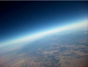 Curve of the earth from balloon camera  above central New Mexico