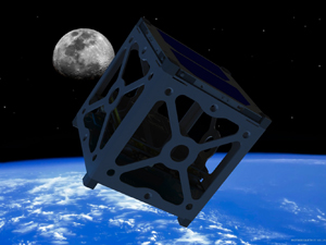 "Artist&squot;s conception of a 4"" x 4"" x 4"" CubeSat in Orbit"