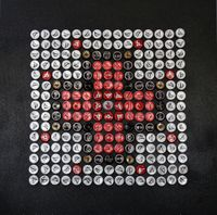 Childs' bottle cap quilts on exhibit, sale