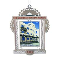 The 2015 UNM holiday ornament features Mesa Vista Hall
