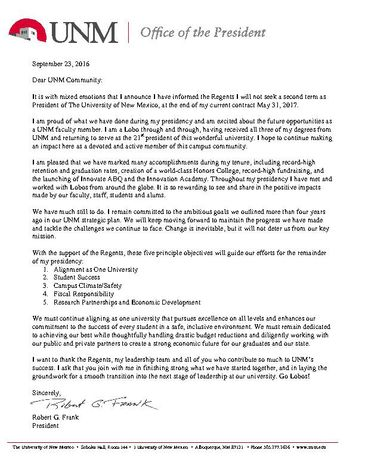 President's letter to UNM Community