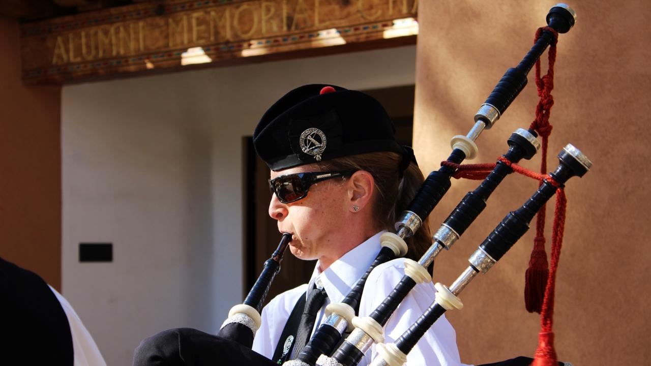 Bagpipes honoring veterans