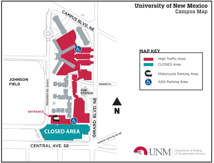 R Zone Map of Closed Parking and High Traffic Areas