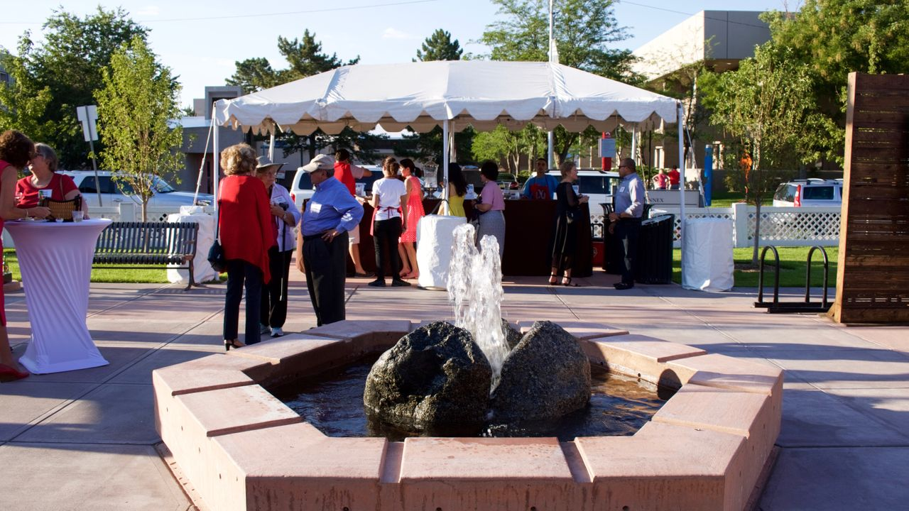 Water fountain in the center of the newly dedicated courtyard