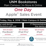 One-day Apple sales event at UNM Bookstores set for Friday, May 4