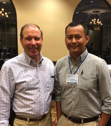 Senator Tom Udall and 2018 Udall Scholar Cobin Willie, at the Udall Scholarship orientation in Tucson, Arizona.