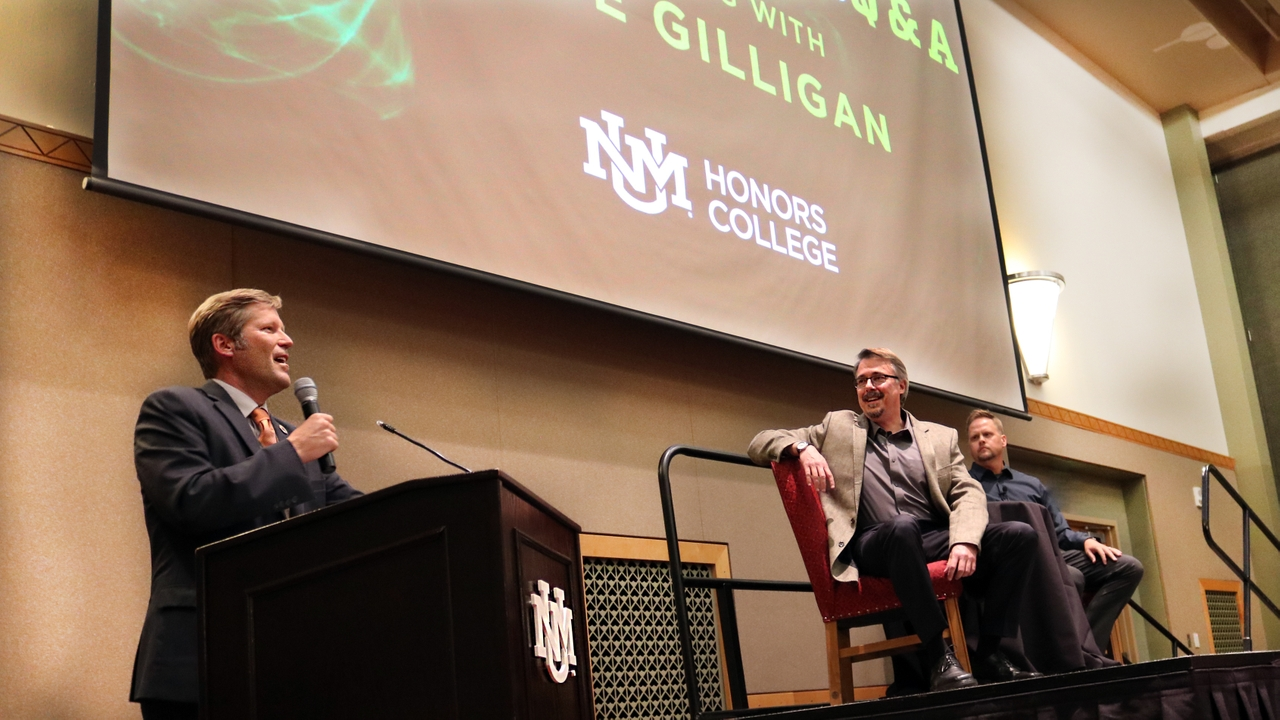 Mayor Tim Keller, Vince Gilligan, and Professor Ryan Swanson