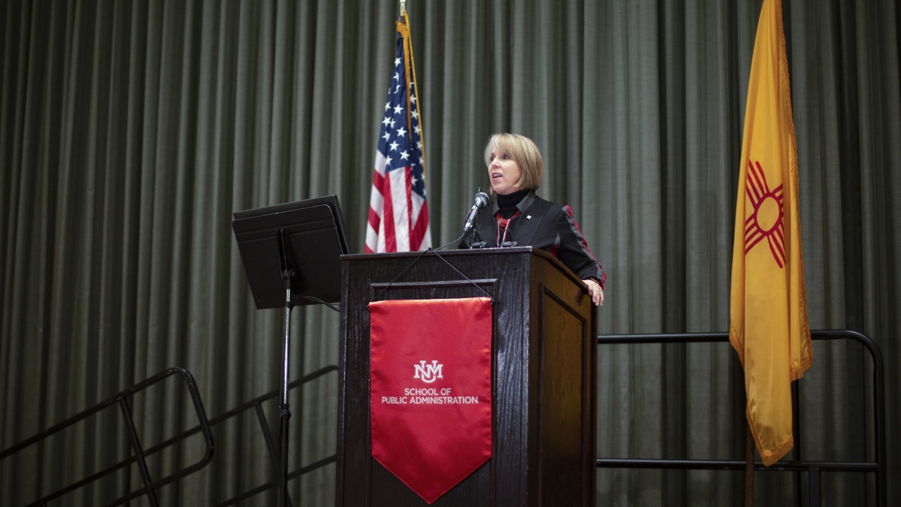 Governor Michelle Lujan Grisham gives the keynote speech