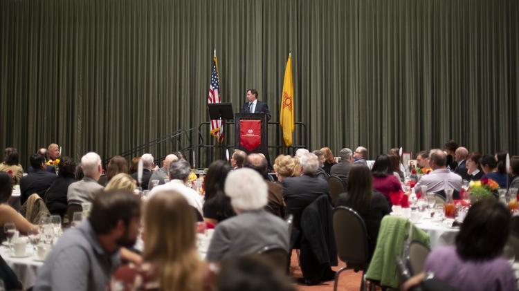 SPA Director Bruce Perlman addresses a full ballroom