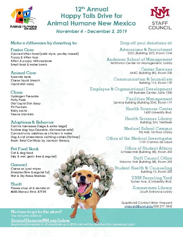 Happy Tails Drive Wish List