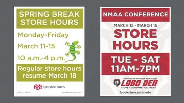 UNM Bookstores Spring Break hours
