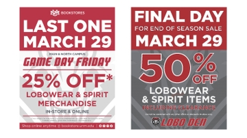 Last Game Day Friday, end of season sale at UNM Bookstores