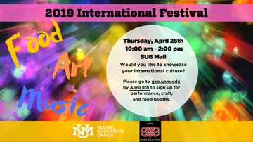 Open call for participants and vendors for the UNM International Festival on April 25