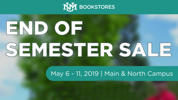 UNM Bookstores End of Semester Sale May 6-11