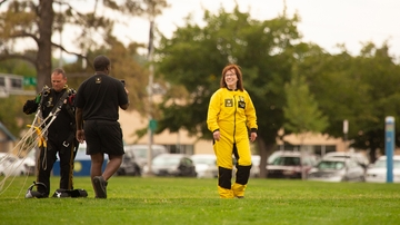 UNM President Garnett Stokes raises awareness with U.S. Army Golden Knights