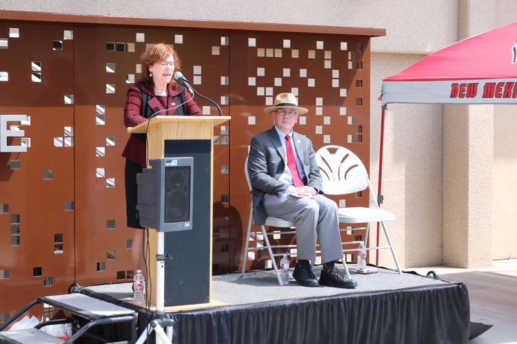 UNM President Garnett Stokes attends ribbon cutting ceremony for Honors College