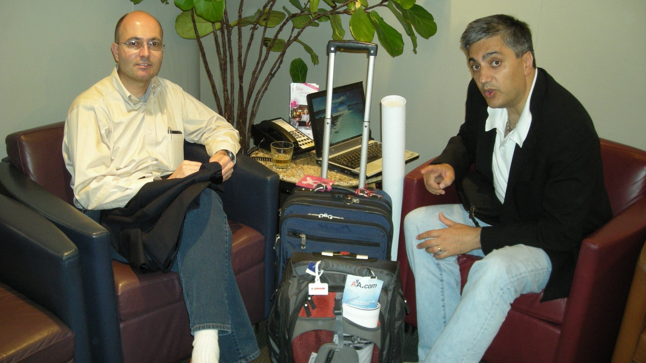 With Chaouki Abdallah on one of Schamiloglu's many business trips.
