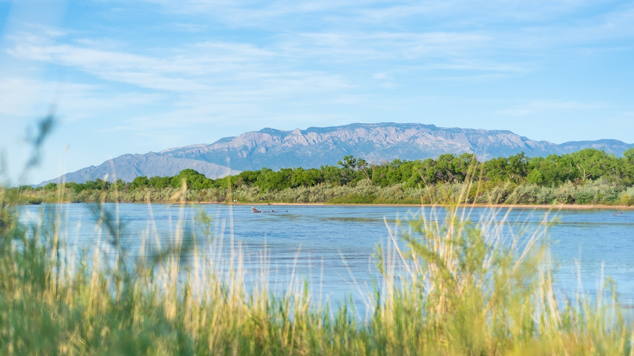 The Rio Grande and the Sandia Mountains