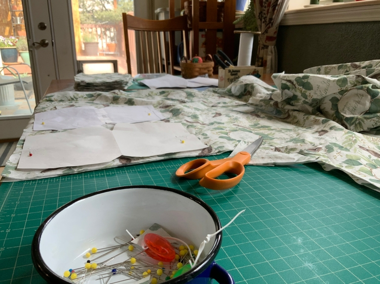 A dining table turned into a worksapce