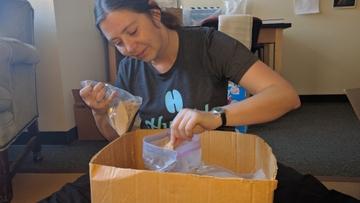 Emily Jones in zooarchaeology lab