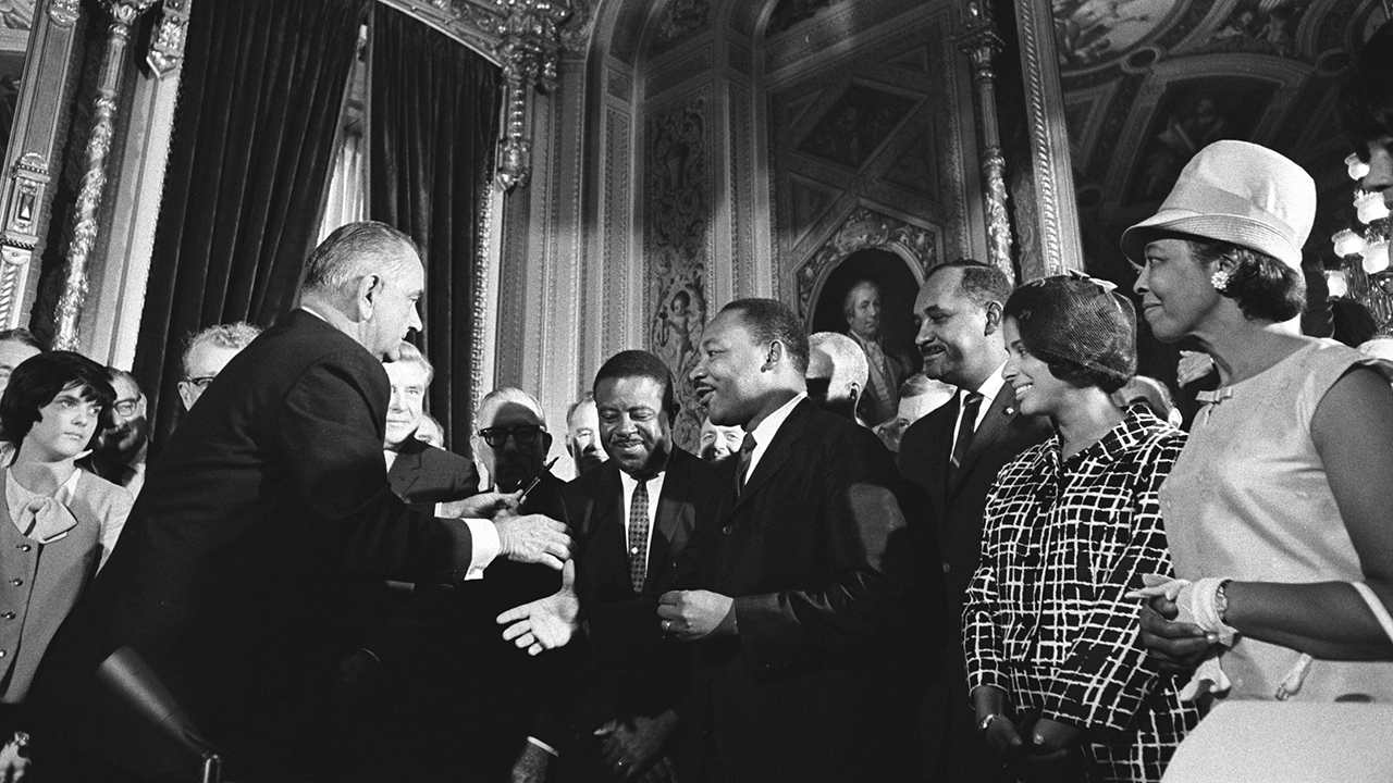 President Lyndon Johnson greets