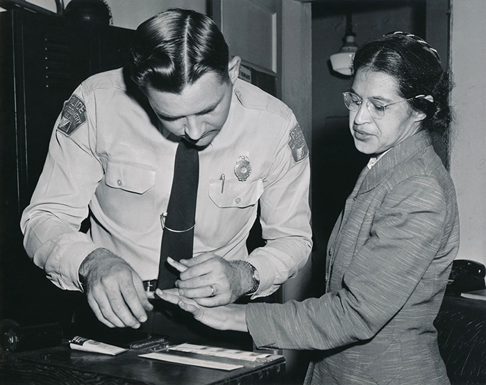 Rosa Parks is fingerprinted