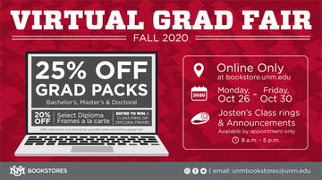 UNM Bookstores host Virtual Grad Fair Oct. 26-30