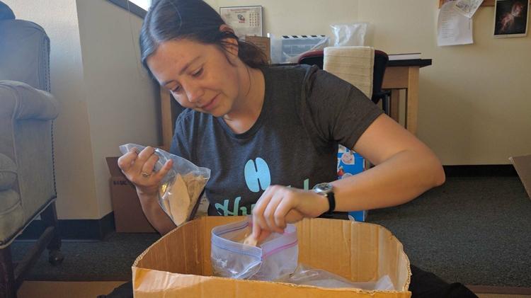 Emily Jones sorting samples