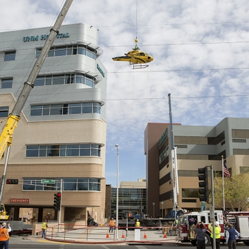 Disabled helicopter safely removed from UNMH roof