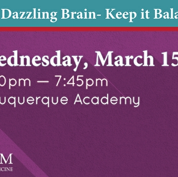 "Public invited to ""Your Dazzling Brain – Keep It Balanced"" March 15"
