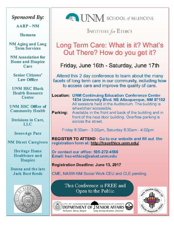 UNM Long Term Care Conference flyer