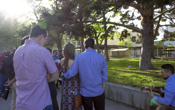 UNM pharmacy students, faculty and staff hold a tree dedication and memorial for Andrew Vega.
