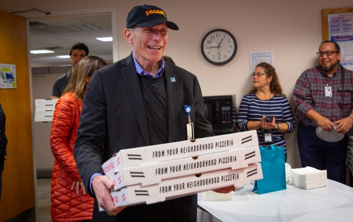 Chancellor Paul B. Roth Delivers Pizza