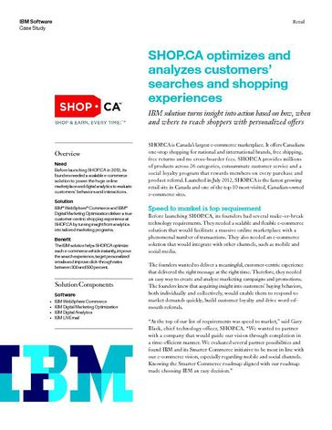 SHOP.CA optimizes and  analyzes customers'  searches and shopping  experiences