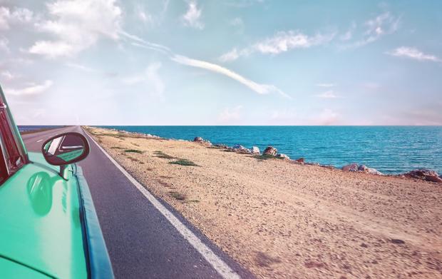 road trip highway ocean