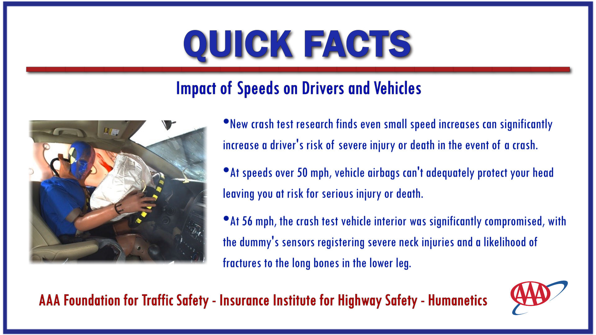 AAA QUICK FACTS_Speed and Injury Crash Test