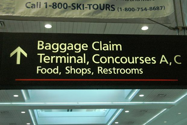 baggage claim sign in airport